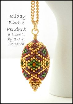 Beading Tutorial – Holiday Bauble Beaded Bead Pendant or Ornament – peyote stitch beadwork - anxdrer. Beaded Beads, Beads And Wire, Beaded Jewelry, Jewellery, Wire Jewelry, Peyote Patterns, Beading Patterns, Bead Crafts, Jewelry Crafts