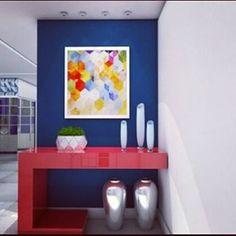 Hall de entrada.  Aqui foi Combinado duas cores primárias, o azul e o vermelho, para dar  destaque a entrada da residência. Uma área, muitas vezes, pouco valorizada.  #hall #projeto #projeto3d #sketchup #vray #maqueteeletrônica #maquete #interiordesign #decoração  #3D #designdireito