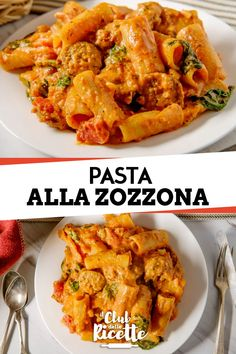 Zozzona Pasta - Pasta alla Zozzona is a typical first course of Roman cuisine prepared with sausage, bacon, pecorino - Rigatoni, Orzo, Meatless Chicken, Snack Recipes, Healthy Recipes, Pizza, Saveur, I Love Food, No Cook Meals