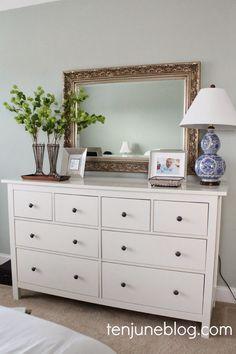 Ten June: Master Bedroom Dresser Vignette oils be on top of piano decor