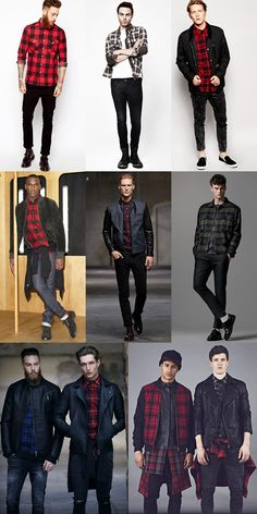 Men's 2014 Autumn/Winter Fashion Trend: Rockabilly Style with check/plaid shirts Lookbook Inspiration