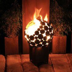 Feuertonne in Kugelform für den Garten / fireplace made of metal sphere as garden decoration made by Atelier51 via DaWanda.com