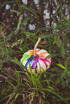 Colorful Crayon Drip Pumpkin