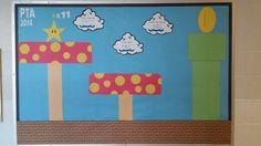 """Mario"" school bulletin board Mario Smash, Incentive Charts, Ap Psych, Teacher Bulletin Boards, 80s Theme, Neon Room, Super Mario Brothers, Computer Lab, Mario Party"