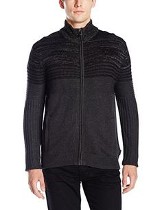 Calvin Klein Men's Textured Stripe Full Zip Sweater, Grey Heather Combo, 2X-Large Men's Fashion ** See this great product.