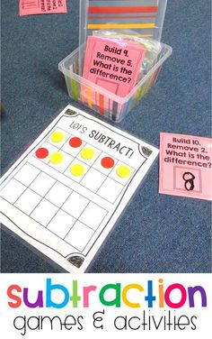 Subtraction games and activities for first grade! Students practice different subtraction strategies using hands on activities. Check out the post for more ideas!