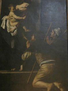 Caravaggio's Madonna dei Pellegrini, at the Basilica of St. Augustine in Campo Marzio, Rome.