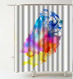 Watercolor Lion Glasses Design Shower Curtain and Liners  Modern Bathroom