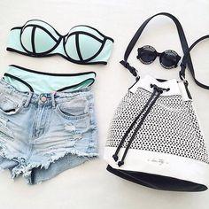 summer, fashion, and bikini image Summer Wear, Summer Outfits, Cute Outfits, Cute Bathing Suits, Cute Swimsuits, Beach Wear, Beach Attire, The Bikini, Soft Grunge
