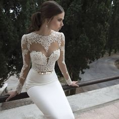 Come see Part 2 of the stunning @bertabridal collection on www.bridalmusings.com #lace #weddingdress #bridaldesigner #gold #model #beautiful #ponytail #weddingblog
