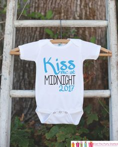 Kiss Me at Midnight Outfit for Boys - 2017 Happy New Year Onepiece - New Years Shirt For Infant or Toddler - Childs 1st New Year Outfit