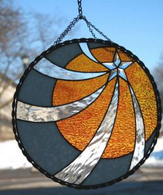 Stained Glass Sun-Moon-Star Panel