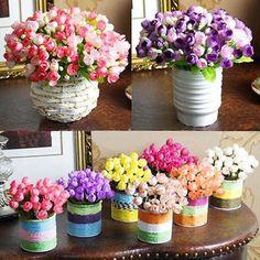 1Bunch 15 Heads Flower Bouquet Silk Rose Flower Leaf Home Wedding Party Decor