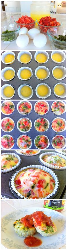 Quick, high protein breakfast idea: Clean egg muffins! Good to make the beginning of the week and reheat for a quick breakfast/ snack rest of the week! And Braces Friendly
