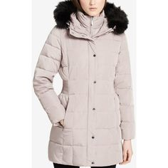Calvin Klein Faux-Fur-Trim Hooded Puffer Coat ($135) ❤ liked on Polyvore featuring outerwear, coats, thistle, pink puffer coat, faux fur trim coats, pink coat, puffy coat and calvin klein coats