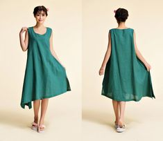 Delphimium/ Linen  Sleeveless Long Dress with Asymmetrical Hems / 29 Colors/ ANY SIZE/RAMIES