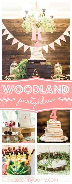 Take a look at this Enchanted FOURest woodland birthday party. The naked tiered cake is gorgeous!! See more party ideas and share yours at CatchMYParty.com #woodland #rusticbirthday