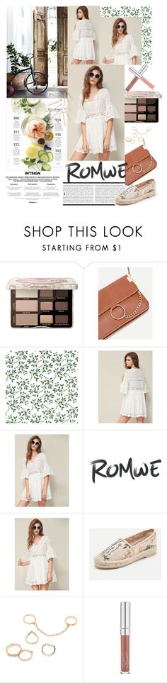 """ROMWE - Tie Neck Fluted Sleeve Eyelet Embroidered Smock Dress"" by miss-maca ❤ liked on Polyvore featuring Too Faced Cosmetics and Martha Stewart"