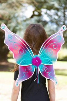 3b97967abc1b7 Girls Ladies Aqua Blue Pink Large Fairy Dress Up Festival Party Pixie Nymph  Wing