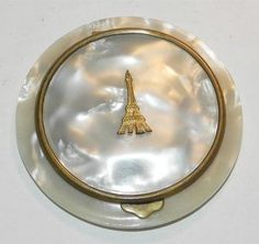 Vintage 1940's Pearlised Celluloid Compact depicting Eiffel Tower