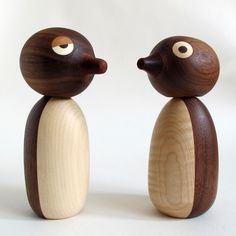 Wood penguin. Sycamore and American walnut. Each is handmade with its own personality.