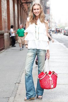 NYC Street Style Denim - New York City Street Style   Jeans: 7 for All Mankind  Shirt: BGBG  Necklace: From flea market