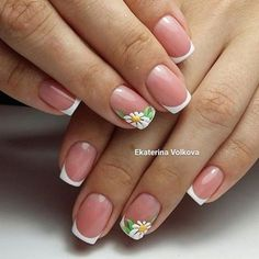 french nails for wedding Beautiful Cute Nails, Pretty Nails, My Nails, French Nails, Nailed It, Daisy Nails, Nagel Hacks, Flower Nail Art, Nagel Gel