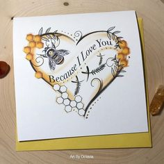 Your place to buy and sell all things handmade - Because I Love You card Perfect for bee lovers Inside Options Blank You Bee my Honeysuckle & - Bee Quotes, I Love Bees, Love Birthday Cards, Birthday Gifts, Bee Gifts, Bee Cards, Bee Happy, Bees Knees, Bee Keeping