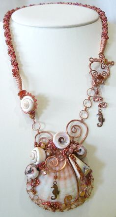 Beaded Kumihimo and Copper Wirewrapped Shell by KellsCreations, $165.00