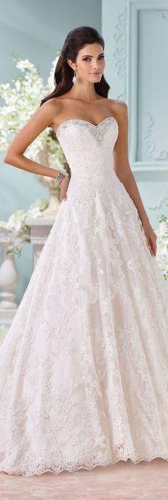 David Tutera for Mon Cheri Spring 2016 Sweetheart A-line Wedding Dress / http://www.himisspuff.com/sweetheart-wedding-dresses/5/