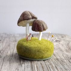 Pincushion Needle Felted Miniature Mushrooms Pin Cushion in Heather Brown Nature Scene Desk Home Decor Wool Sculpture Made To Order
