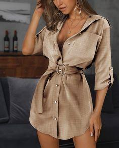 Buy Ring Belt Shirt Dress in the online store - TopTrendBrand Linen Shirt Dress, Belted Shirt Dress, Belt For Dress, Blouse Dress, Plain Shirts, Loose Shirts, Sexy Shirts, Camisa Lisa, Camisa Formal