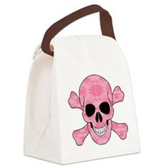 Pink Camouflage Skull And Cross Bones Canvas Lunch > Lunch Bags > Atteestude T-Shirts And Gifts  #school supplies
