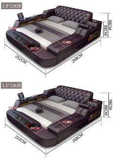 Leather Bed With Storage Box And Sideboard – NOFRAN Electronics & Furnitures Κρεβάτια HiCan - Revolutionary Smart Bed Living Room Sofa Design, Bedroom Bed Design, Bedroom Furniture Design, Bed Furniture, Bedroom Sets, Home Decor Bedroom, Master Bedroom, Master Suite, Furniture Ideas