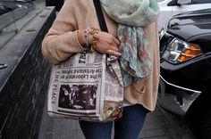 News paper hang bag