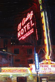 """El Cortez Casino, Las Vegas"" Acrylic on canvas painting by artist Chris Rutledge."