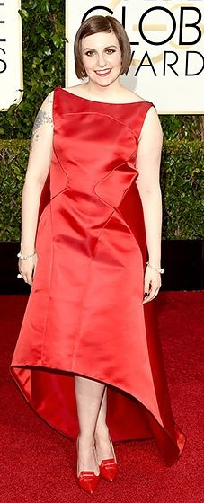 I will never understand how someone can wear famous, well respected designers and not have them properly tailored for the red carpet. Lena is easily one of the worst dressed women of all time. There is never an excuse for ill fitting clothing, especially not in that setting. Shame on her and whoever keeps telling her these dresses look great.   Lena Dunham: 2015 Golden Globes