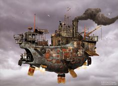 Floating Ship Concept par Nick Gizelis – Steampunk pirates - Hard Tutorial and Ideas Pirate Steampunk, Chat Steampunk, Steampunk Ship, Steampunk Kunst, Steampunk Clothing, Gothic Steampunk, Steampunk Images, Steampunk Gadgets, Flying Ship