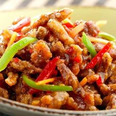 Crispy Shredded Chicken In Sweet Chilli Sauce. I would use quorn chicken instead.