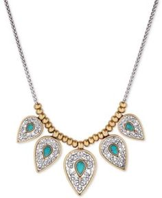 Lucky Brand Two-Tone Blue-Stone Statement Necklace - Yellow
