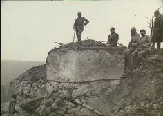 WW1. Poilus inspecting a concrete shelter near Fort Malmaison, Laon.
