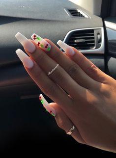 Nails coffinn nails white nails cherry's long nails matte nails Bonitanails – Nail Ideas Simple Acrylic Nails, Summer Acrylic Nails, Best Acrylic Nails, Acrylic Nail Designs, Matte Nails, My Nails, Summer Shellac Nails, Orange Nail Designs, Acylic Nails