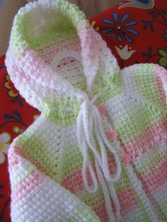 Cute Pink Green White Crochet Baby Girl Sweater with Hood - Months in Tunisian Crochet - Handmade Crochet Bebe, Crochet Girls, Crochet Baby Clothes, Crochet For Kids, Knit Crochet, Baby Patterns, Knitting Patterns, Crochet Patterns, Yarn Projects
