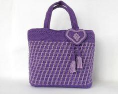 Crochet bag PDF pattern Colores de rosas tunisian by Luganika