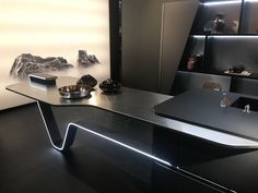 Milan Furniture Fair: Best of Day 1 in Pictures from Salone del Mobile 2018 Office Table Design, Reception Desk Design, Home Office Design, House Design, Modern Home Office Furniture, Milan Furniture, Furniture Design, Home Decor Kitchen, Kitchen Design