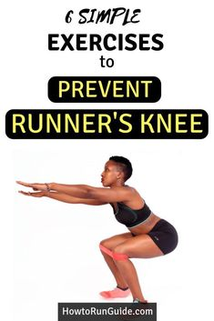 Prevent runner's knee from coming back with these simple body weight exercises to strengthen weak muscles that cause knee pain. Running for weight loss! 4 way to run your way to lose weight! Running Tips, Running Workouts, Easy Workouts, Running Humor, Knee Strengthening Exercises, Yoga Exercises, Fitness Exercises, Body Weight Exercises, Knee Stretches
