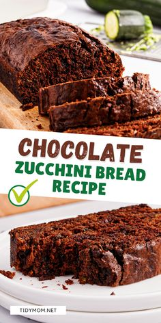 DOUBLE CHOCOLATE ZUCCHINI BREAD comes together quickly, it's a great way to sneak in some veggies, and freezes wonderfully! What's not to love?! PRINT FULLzucchini bread recipe at TidyMom.net Chocolate Zucchini Bread, Zucchini Bread Recipes, Banana Bread Recipes, Zucchini Desserts, Best Dessert Recipes, Easy Desserts, Keto Desserts, Chocolate Flavors, Chocolate Recipes
