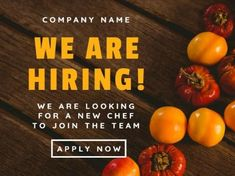 A colorful Job Vacancy template with bright orange text and white description. We Are Hiring, How To Apply, Bright, Colorful, Templates, Orange, Stencils, Template, Patterns