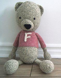 Handmade crochet bear - Fanny - Rustic teddy bear collection  Locally grown 100% wool  http://www.facebook.com/accrochepouce