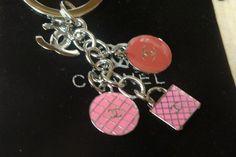 Pink Circle Key Chain Keychain Handmade by Chanel C Diamond Free Bag